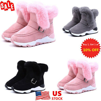 Kids Cotton Fluffy Fur Faux Ankle Boots Warm Winter Buckle Snow Boots Shoes Size