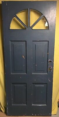 Antique Victorian Wood Exterior French Entry Door /w Half-moon Glass 34x80
