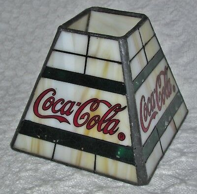 """Vintage Coca-Cola Miniature Small Genuine Stained Glass Leaded Lamp Shade 3.25"""""""
