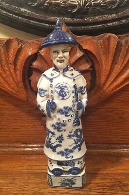 Vintage Chinese Emperor Statue Blue and White Porcelain Good Fortune 11 1/2""