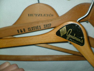 3 Wooden Clothes Hanger Advertising HUTZLER'S DEPARTMENT STORE & Cloths Stores