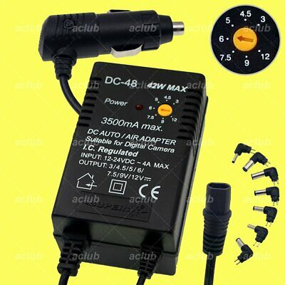 3500mA Multi-Voltage 3V-4.5V-5V-6V-7.5V-9V-12V Regulated DC 24V Car Charger DC48