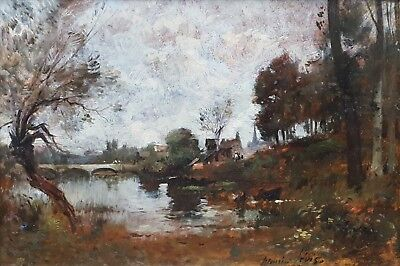 Antique French Painting Landscape 19th Century  Maurice Levis (1860-1940)