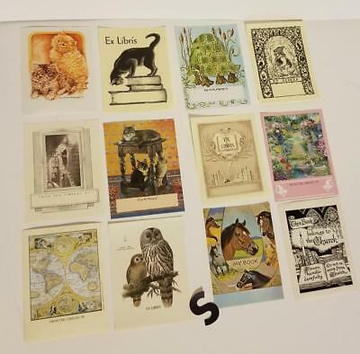 12 vintage book plate paper labels collection lot cat owl horse map kitten gnome