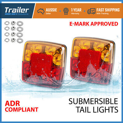 2X Submersible/Waterproof 8 LED Stop Tail Lights Kit Boat Truck Trailer Lamp AU