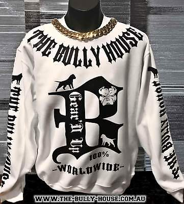 HARDCORE LONG SLEEVE BULLY JUMPERS by THE BULLY HOUSE -(Unisex) WHITE with BL...