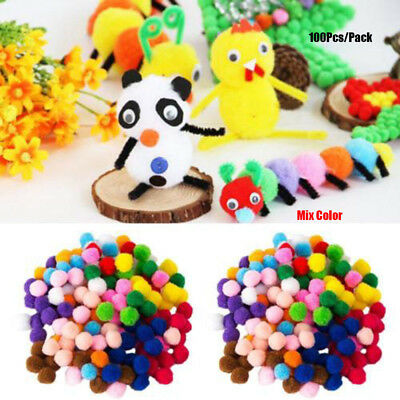 100pcs/set Party Festival DIY Craft Pompoms Fluffy Balls Felt Colorful Kids Toys