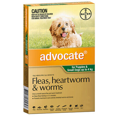 Advocate Dog Flea and Worm Treatment Puppy 0-4kg Green 1's (A2315)