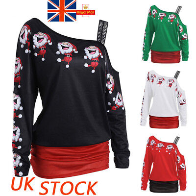 Womens Christmas Print One Shoulder Long Sleeve Blouse Ladies Party Shirts Tops