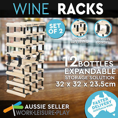 24 Bottle Wooden Iron Storage Wine Rack Natural Wood Cellar Organiser Display