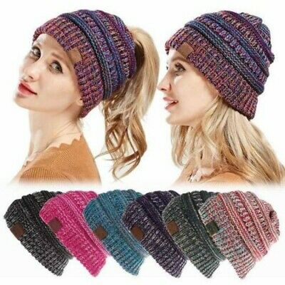 AU Women's Ponytail Beanie Knitted Thick Soft Stretchy Hat Warm Winter Girl Lady