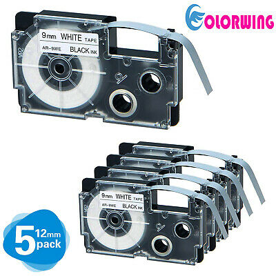 4 pk XR-9WE Compatible for CASIO Label Tape Black on White 9mm 8m KL430