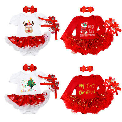 Baby Girls 1st Christmas Costume Romper Dress+Headband+Shoes Outfit 3PCS Clothes