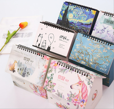 2018 - 2019 Unicorn Desktop Flip Calendar Stand Up Table Planner Office Desk
