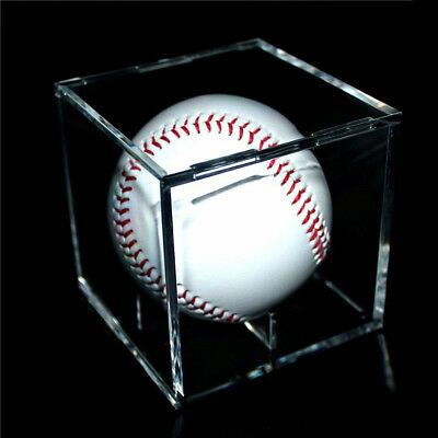 1X Acrylic Baseball Display Case Tennis Ball Care Cube Box Holder UV Protection