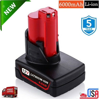 For Milwaukee 48-11-2440 M12 12V Lithium 48-11-2401 12V XC 6.0Ah REPLACE Battery