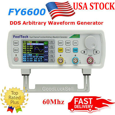 FeelTech FY6600 60MHz Function Arbitrary Waveform Pulse DDS Signal Generator USA