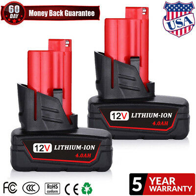 2X REPLACE BATTERY FOR Milwaukee M12 12V 12 VOLT 48-11-2460 XC 4.0AH CORDLESS TS