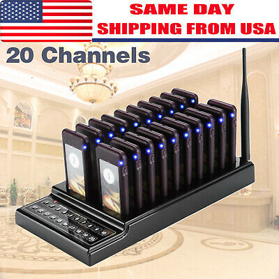 New 20 Restaurant Coaster Pager Guest Call Wireless Paging Queuing System US
