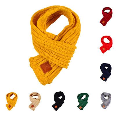 Winter Scarf Kids Solid Color Knitted Scarves Winter Warm Scarf for Boys Girls