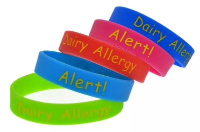 3 PACK Childrens Dairy Allergy Medical Alert ID Bracelet Silicone Wristband Band