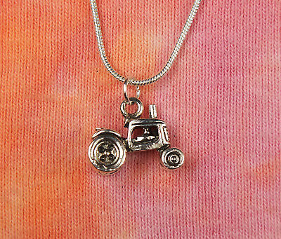 """3D Farm Tractor Necklace 16-36"""" Truck Trailer Charm Jewlery Vintage Style"""