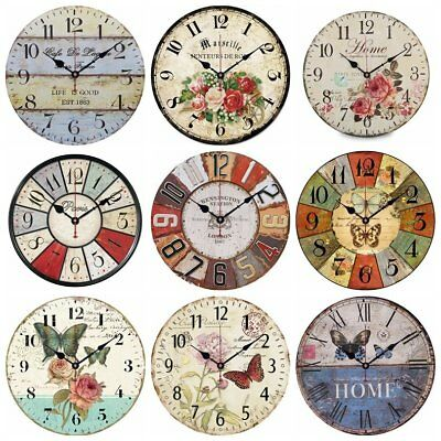 Wall Mounted Clock Wood Battery Vintage Rustic Living Room Bedroom Kitchen Home