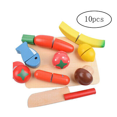 10pcs Wooden Fun Cutting Toys Fruits Vegetables Simulated Pretend Play Kit