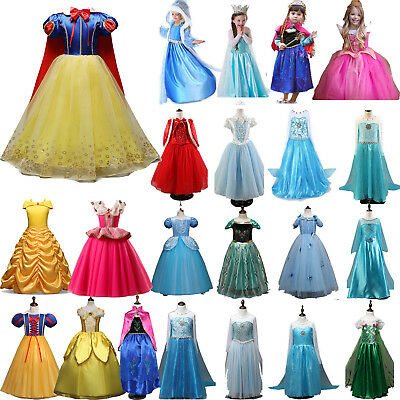 Girl Kids Disney Princess Snow White Elsa Anna Fancy Costume Cosplay Tulle Dress
