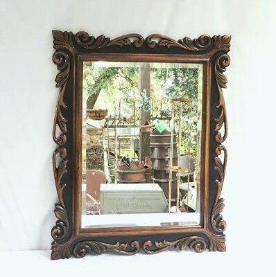Antique French Heavily Wood Carved~Beveled Glass Mirror H~29 x L~26
