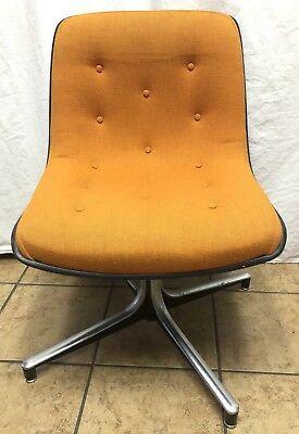 Excellent Mid Century Modern Industrial Retro Steelcase Tufted Orange Ncnpc Chair Design For Home Ncnpcorg