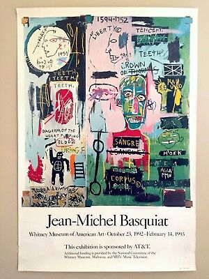 Jean Michel Basquiat Rare Orig Lithograph Print Iconic Whitney Exhbt Poster 1992