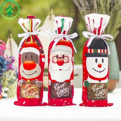 Christmas Wine Bag Cartoon Snowman Red Wine Bottle Holder Cover Party Home Decor