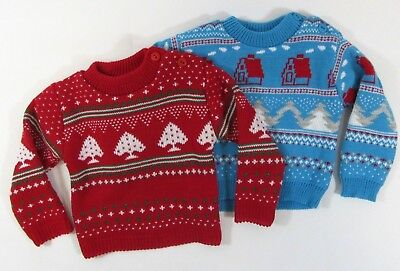 Baby Boys Christmas Jumper Sweater Xmas Novelty Nordic Blue Red NB 0 3 6 9 M 98