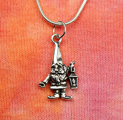 Garden Gnome with Lantern Necklace, Lawn Dwarf, Charm Pendant Gift Boxed Jewelry