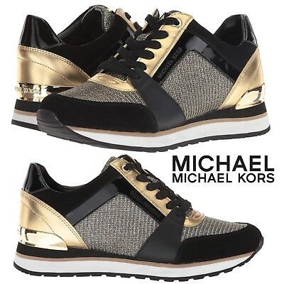 ef1e658df07c MICHAEL Michael Kors Billie Trainer Sneakers Women s Gold Casual Shoes  Sport NIB