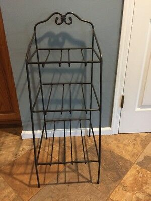 Longaberger Wrought Iron Large 3-Tier Bin Basket Stand Books Games Towels Magazi