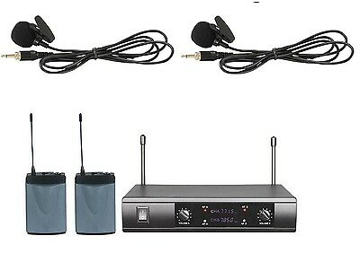 Dual-Channel UHF Wireless Lavalier Lapel Microphone System 2 Bodypack 2 Lavalier