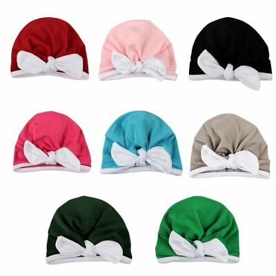 New Cute Newborn Baby Infant Girl Toddler Comfy Bowknot Hospital Cap Beanie Hat