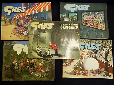 5 Vintage Giles Annuals 1952-1958 Seventh Ninth Tenth Eleventh Twelfth Series