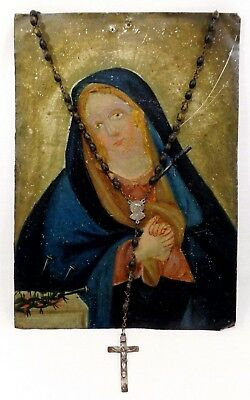 Late 19Th C Antique 'santo' Painting (Mexico) 'our Lady Of Sorrows,' Oil On Tin