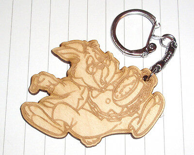 Classic Alice in Wonderland keyring Cheshire Cat Caterpillar Wooden Engraved