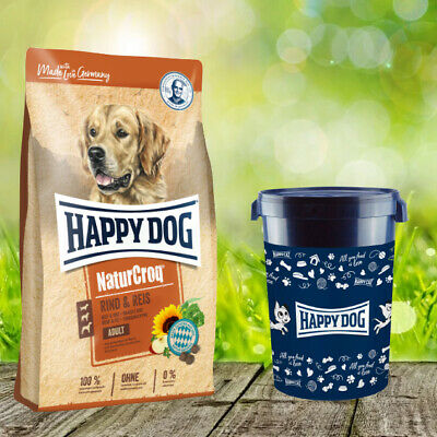 Happy Dog Premium Natur Croq Rind und Reis 15 kg + Happy Dog Futtertonne 43 Lite