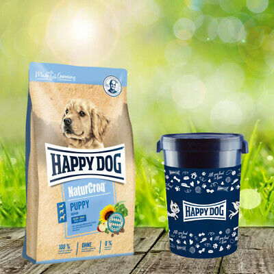 Happy Dog Premium Natur Croq Welpen 15 kg + Happy Dog Futtertonne 43 Liter