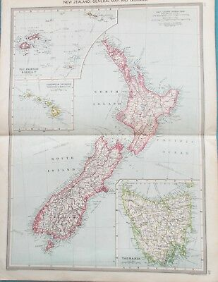 Map of New Zealand & Tasmania. 1905.Pacific.Auckland. Christchurch.