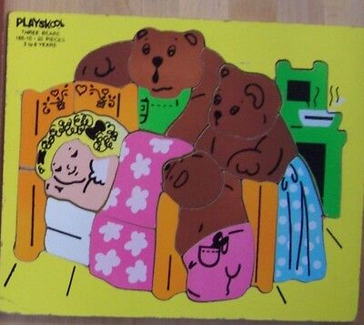 Vintage Playskool Three Bears Wood Inlaid Puzzle
