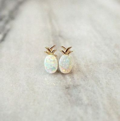 925 Silver Fruit Pineapple White Opal Jewelry Women Wedding Ear Stud Earrings