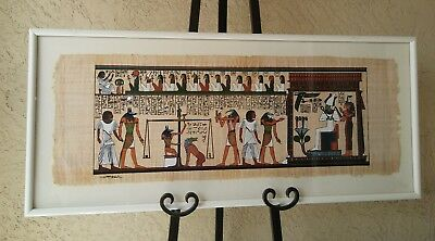 Original Egyptian Papyrus Painting Framed Signed By The Artist