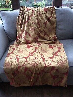 "One Pair of Bedeck Curtains ""Passion"" Rusty Red & Gold. 66"" Wide"