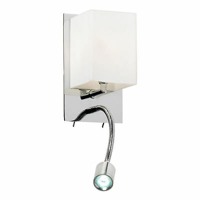 Endon Haughton Antique Brass and Frosted Glass Wall Light with Pull Cord Switch